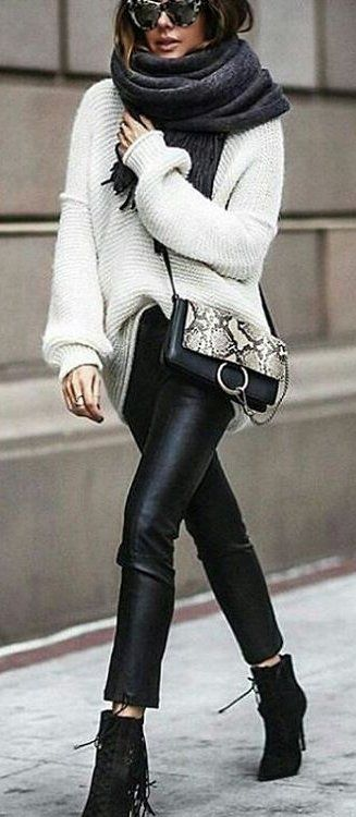 White Knit + Dark Scarf + Black Leather Leggings + Black Ankle Boots