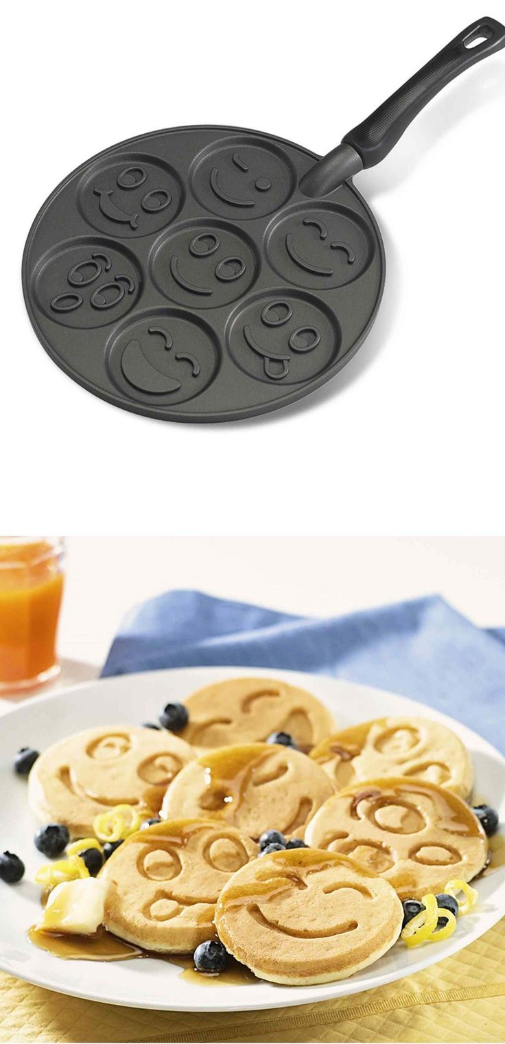 Prepare the most delicious & different smiley face pancakes for a wonderful breakfast with this funny smiley face pancake pan. It has seven different smiley face style that can produce amazing & funny pancakes. The non-stick surface of it makes an easy cleanup and it's made of cast aluminum that ensure to heat evenly and produce golden color pancakes. Price $22.63