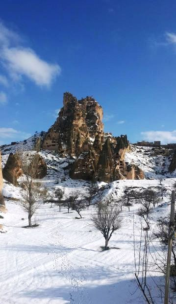Uçhisar Naturel Citadel in Winter,Cappadocia