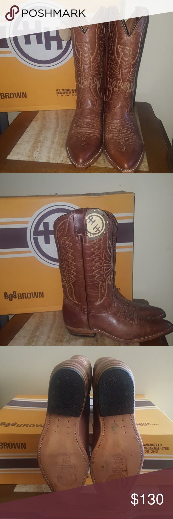 HH Brown Ladies Cowboy Boots **PRICE DROP** FINAL PRICE!   BRAND NEW never worn ladies leather boots. NO OFFERS OR TRADES! HH Brown Shoes Combat & Moto Boots