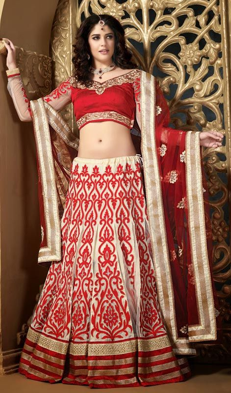 Butter Cream Net Embroidered Lehenga Choli