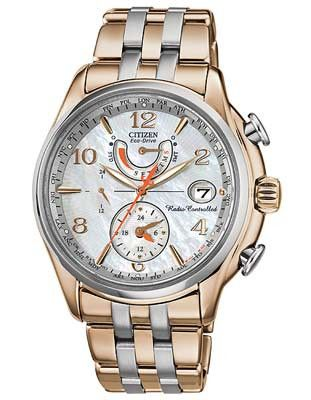 Citizen Eco-Drive Ladies World Time AT - MOP Dial - Rose Gold-Tone & Steel