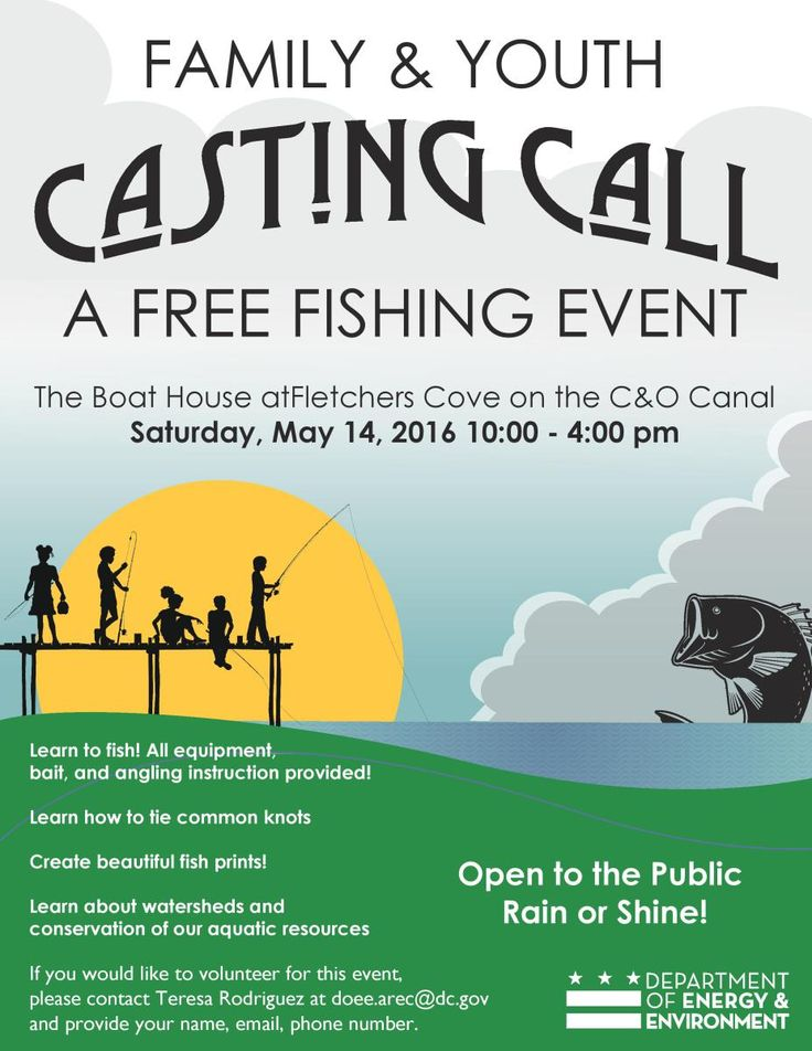 2016 Family and Youth Casting Call ***** FREE FISHING EVENT ***** Saturday, May 14, 2016 – 10:00am to 4:00pm The Boat House at Fletcher's Cove 4940 Canal Road NW, Washington DC 20007 Open to …