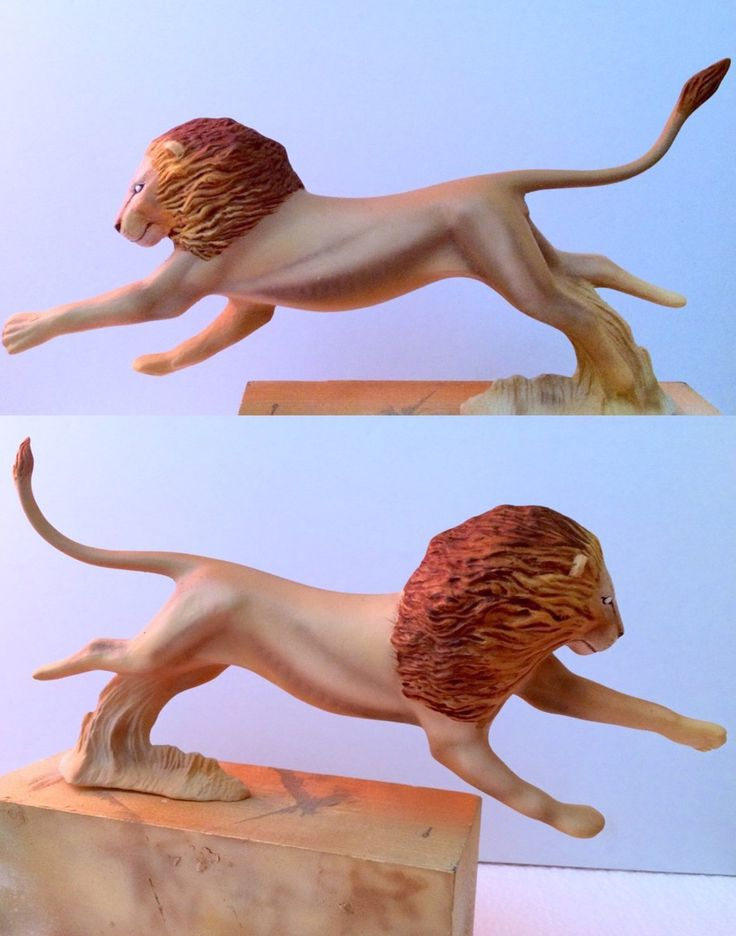 Lion vs hyena in preparation , mounted sculpture and painted by Alfonso Jaraiz ...