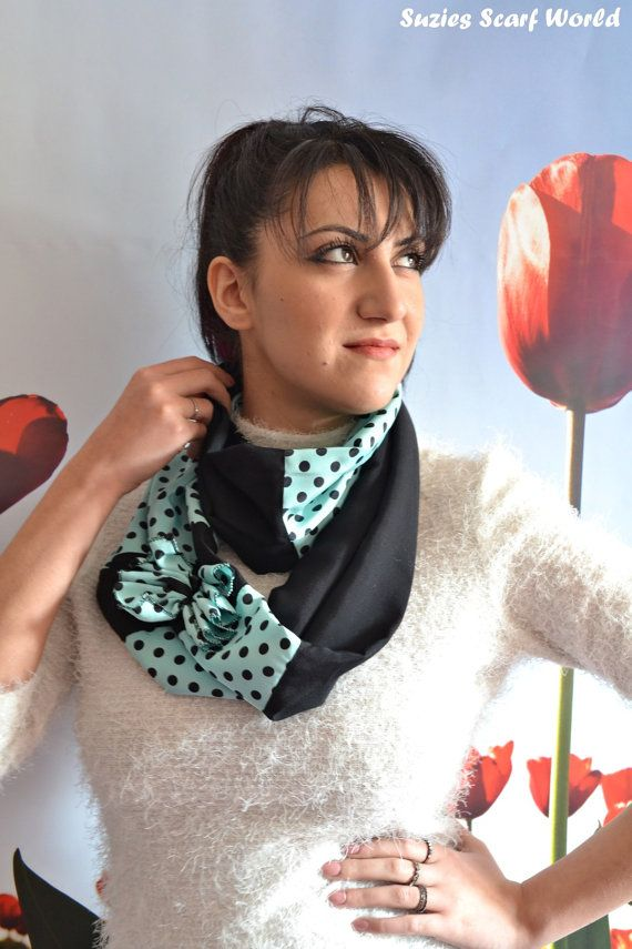 Long Polka Dot Scarf Black and Teal Scarf by SuziesScarfWorld, €19.00