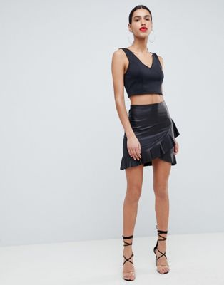 a29b15264b DESIGN leather look mini skirt with frill hem in 2019 | Summer 2018 ...
