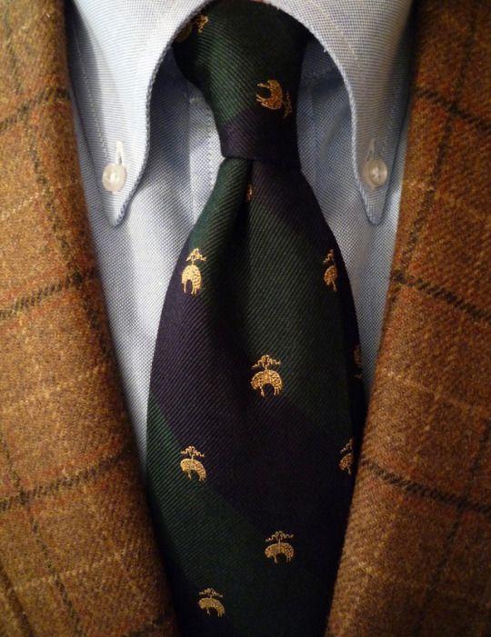 J. Press tweed, Brooksweave, Golden Fleece tie.