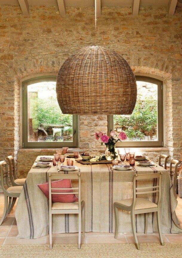 Walls & table with big rattan pendant lamp