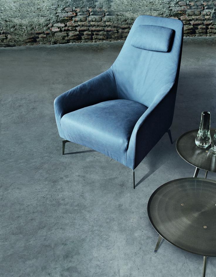 Leather Armchair With Headrest CAROL By ALIVAR Design Giuseppe Bavuso