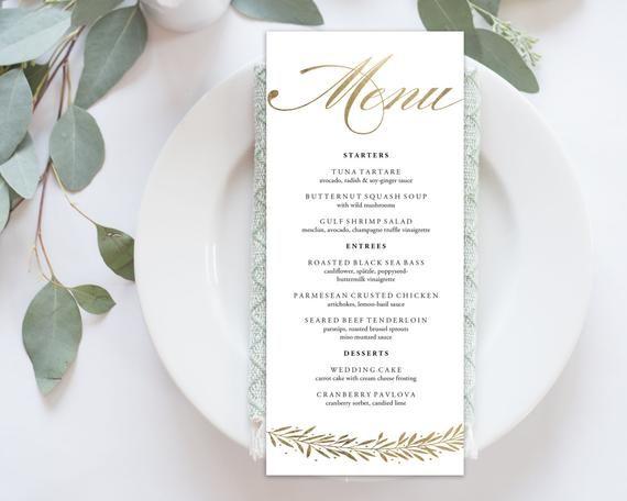 Wedding Menu Printable Printable Dinner Menu Editable Template Instant Download Wedding Calligraphy Custom 4x9 No Edn 5098 Gold Wedding Menu Template Diy Wedding Menu Wedding Menu Cards
