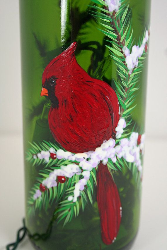 Hand Painted Wine Bottle Light With Cardinal