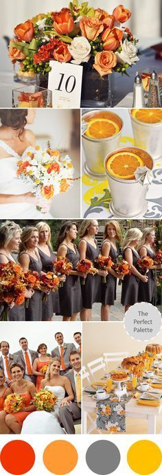 Wedding Colors I Love | Shades of Orange, Gray + Yellow! http://www.theperfectpalette.com/2013/07/wedding-colors-i-love-shades-of-orange.html