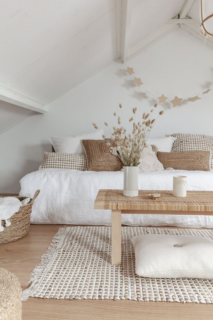 White paint colors: Rustic white living room with minimal farmhouse interior