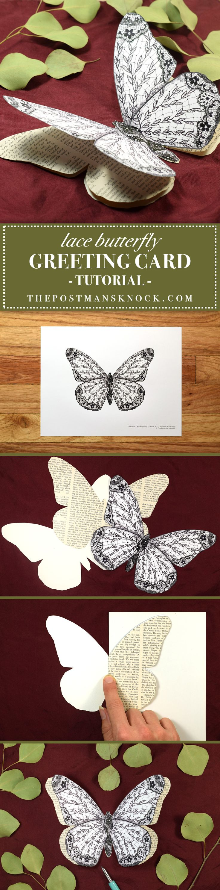 Illustrated Lace Butterfly Card Tutorial