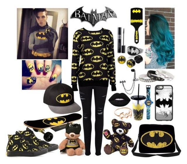 """""""Batman"""" by sparkflower ❤ liked on Polyvore featuring Converse, Maverix, Gund, Christian Dior, Frame, Lime Crime, Casetify and M:UK"""