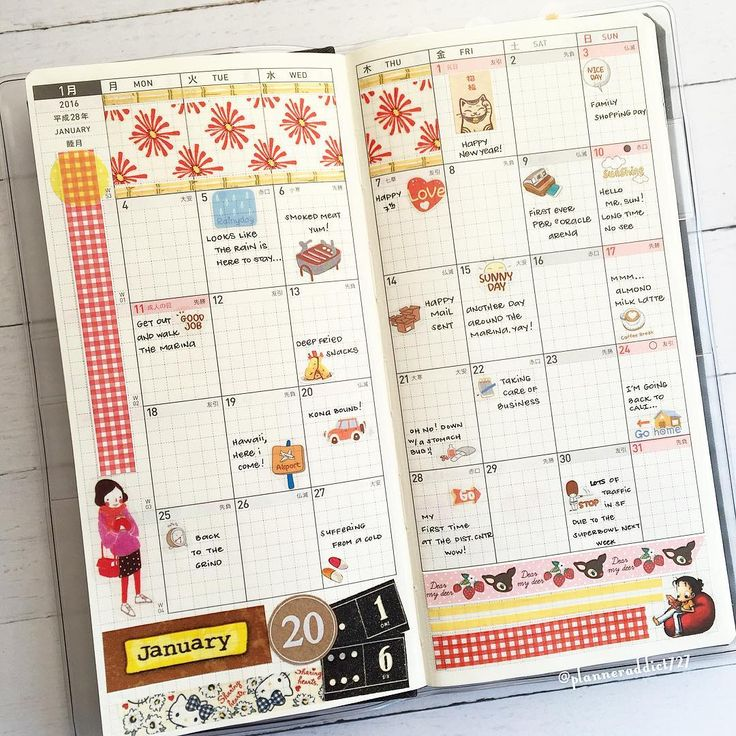 """""""The first month view in my Hobonichi weeks - This, being my """"fun planner"""", I use to jot down little memories or events throughout the month"""""""
