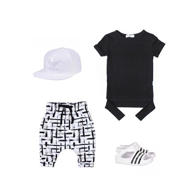 Boys Fashion from Baby Legging Co - Splice Harem Shorts - Black Panel T-shirt - adidas kids adilette