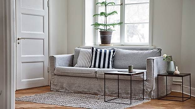 Karlstad Soffoverdrag 3 Sits Loose Fit Urban Rosendal Pure Washed Linen Silver Grey Sofa Covers Home Comforts Home Decor