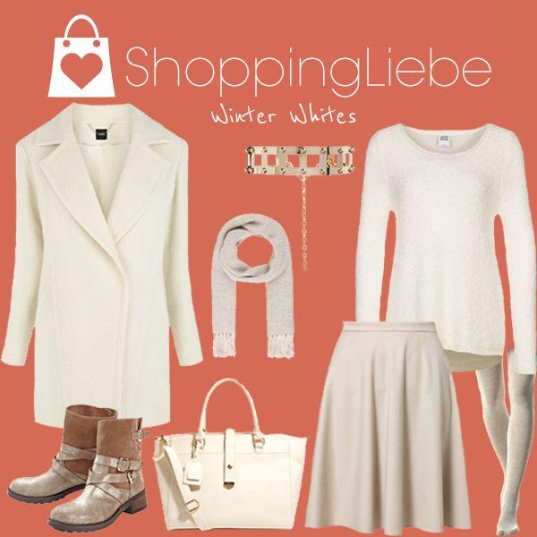 """Ein romantischer Winter-Look ganz in Weiß. Unser heutiges Outfit """"Winter Whites""""  Rock: http://shoppingliebe.de/goto/Lr5EtIBdtB Pullover: http://shoppingliebe.de/goto/42wptn5FQ8 Mantel: http://shoppingliebe.de/goto/GO8OxsaOkD Schuhe: http://shoppingliebe.de/goto/p9HQBhcADG Tasche: http://shoppingliebe.de/goto/ityaRKBaNI Gürtel: http://shoppingliebe.de/goto/JwMt4EQjmB Schal: http://shoppingliebe.de/goto/VBAyNerfzP Strumpfhose: http://shoppingliebe.de/goto/4EygKRFwqI"""