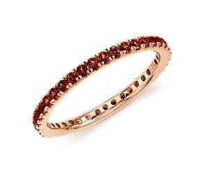 Love this ring! I want it so badly. Would be a perfect match with my earrings. Garnet Eternity Ring in 18k Rose Gold