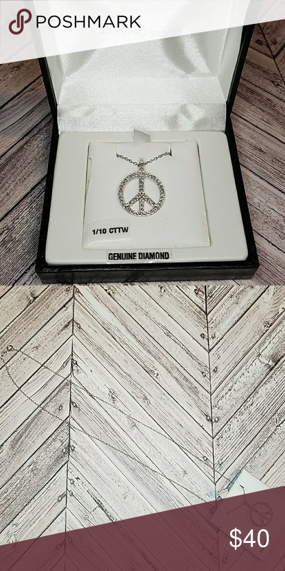 Sterling silver peace sign necklace Brand new! Would make a great gift. So pretty. Jewelry Necklaces