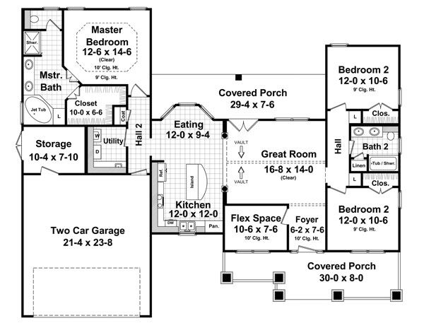 Craftsman Style House Plans - 1619 Square Foot Home , 1 Story, 3 Bedroom and 2 Bath, 2 Garage Stalls by Monster House Plans - Plan 2-321