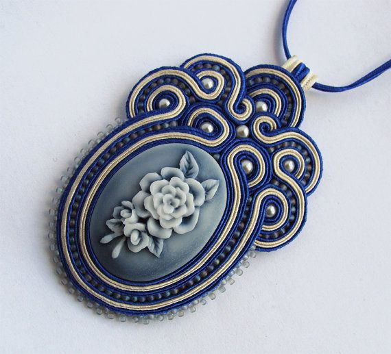 Soutache pendant in navy blue ecru cameo rose by SaboDesign, $75.00