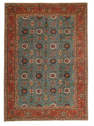This carpet is knotted in workshops in the city of Tabriz in northwestern Persia. It is a sturdy durable carpet with a short rough pile.