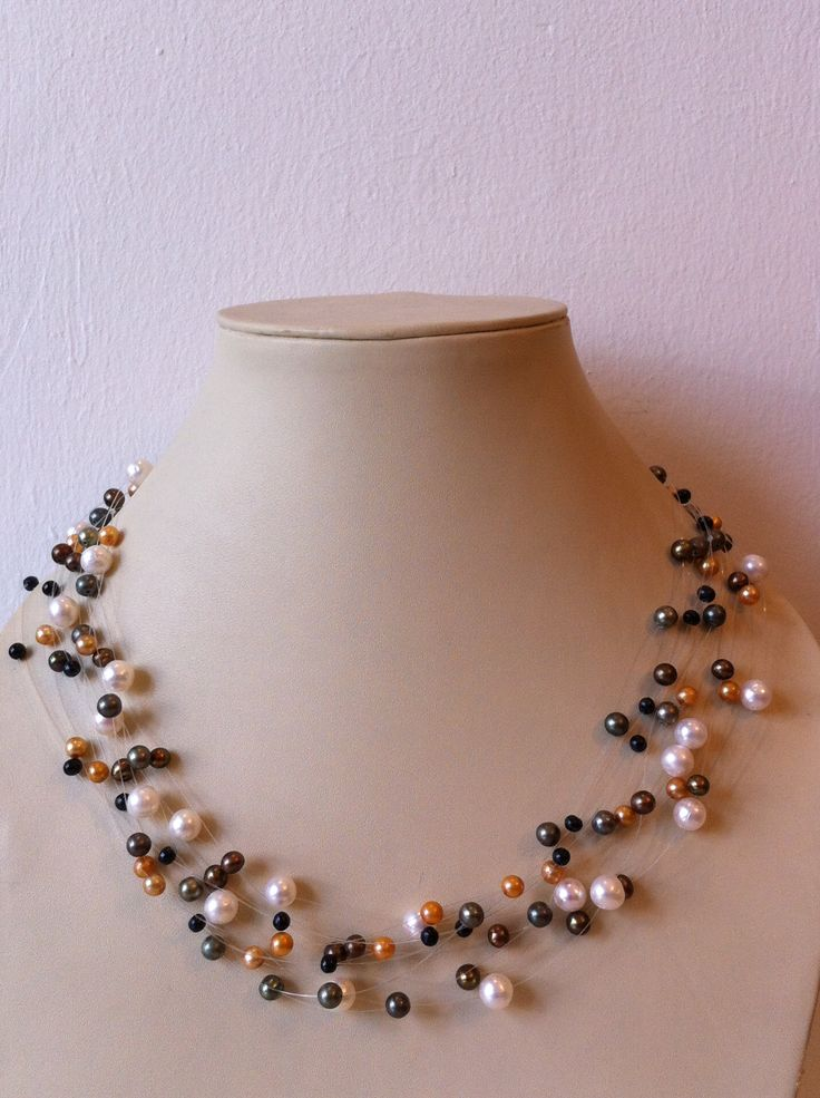 """Necklace """"floating pearl"""" , by BAHIQUE Amsterdam."""