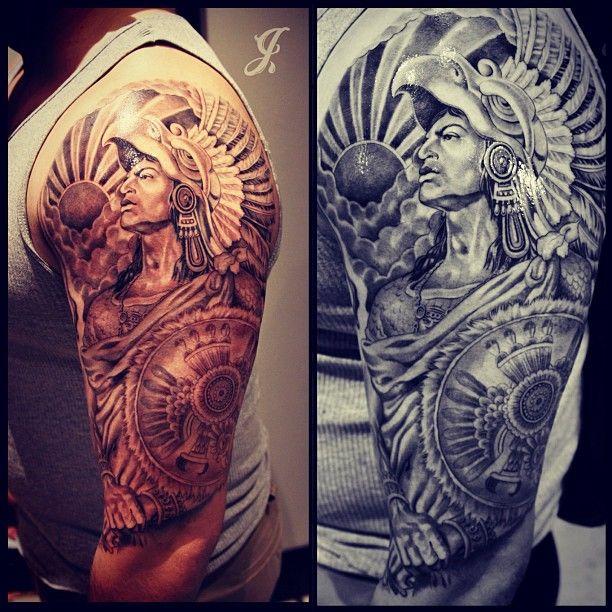 aztek men tattoos pinterest sleeve aztec warrior and sleeve tattoos. Black Bedroom Furniture Sets. Home Design Ideas