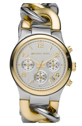 Michael Kors Chain Bracelet Chronograph Watch, 38mm available at #Nordstrom. This is nice too, I need to add that to my eventual wishlist too.