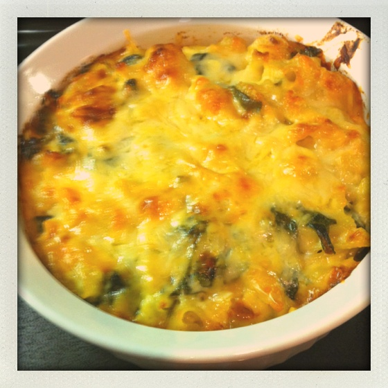 My version of three cheese creamy mac and cheese with spinach ...