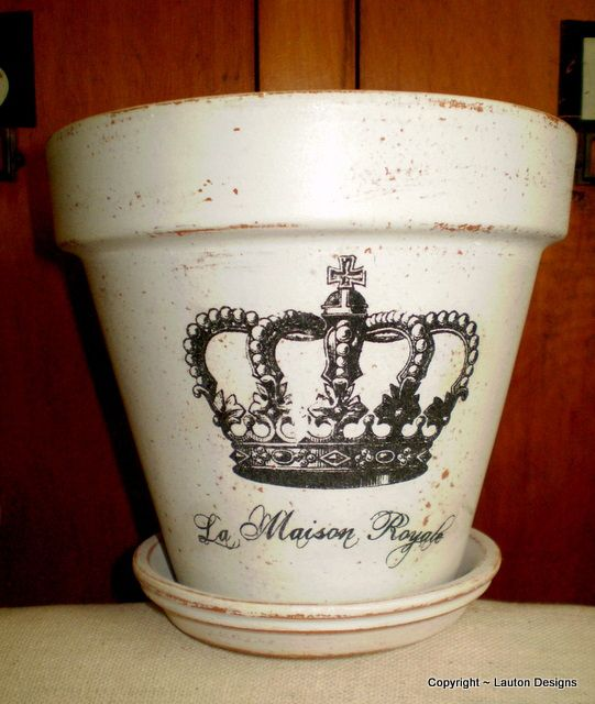 French Crown Clay Pot great idea for patio or party