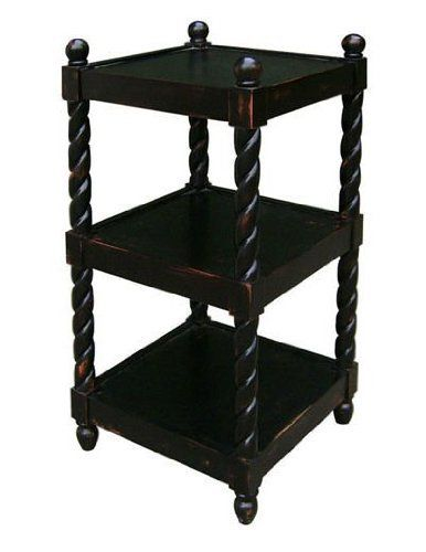 Carolina Accents St. James 3 Tier Square Accent Table by Carolina Accents. $244.12. Three spacious shelves. Black with brown rub finish. 16 in. L x 16 in. W x 32 in. H An aged ebony finish make the St. James Table a versatile and useful addition to any home. Ideal for use in a home office, kitchen, or anywhere a few extra shelves can come in handy.. Assembly required. An aged-ebony finish offers an antique appearance. The spiral legs provide timeless appeal, the spacious sh...
