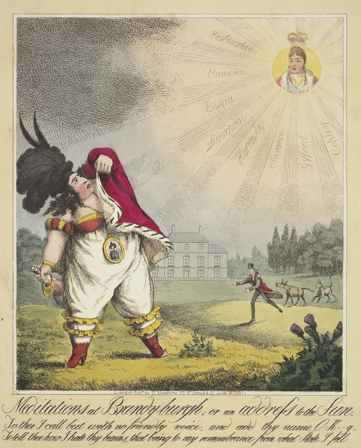 Meditations at Brandy Burgh or an Address to Sun. Print by Theodore Lane, 9 June 1821. Shows Queen Caroline holding a brandy bottle as she shields herself from the rays of the sun depicted as George IV.