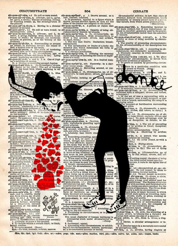 Lovesick Banksy art print, Love sick print, girl with hearts, dictionary art print