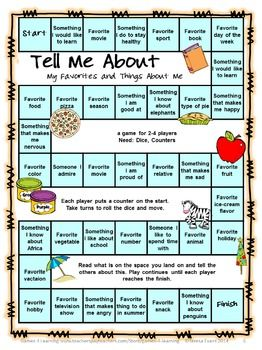 FREEBIES - Back to School Board Games - Getting to know you games.