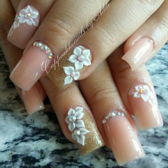 Nude acrylic nails No nailpolish  3d white acrylic flowers  IG cuppcakkenails