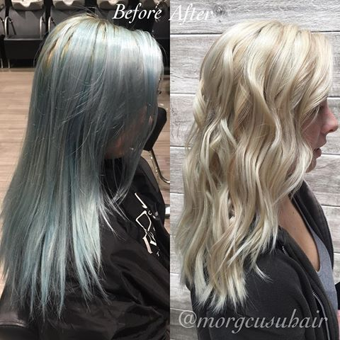 Let's talk about a transformation🙌🏻🙌🏻 faded out blue ion color ⏩ beautiful dimensional blonde!! ✨❤🎀💆🏼 thank you joico color eraser and highlighted and lowlighted after using wella!!#michiganhairstylist #michiganstylist #livoniahairstylist #livoniastylist #plymouthstylist #plymouthhairstylist #detroithairstylist #detroitstylist #cantonstylist #cantonhairstylist #novistylist #novihairstylist  #blowdry #redken #shadeseq #hair #hairstyles #waves #charismasalonanddayspa #behindthechair…