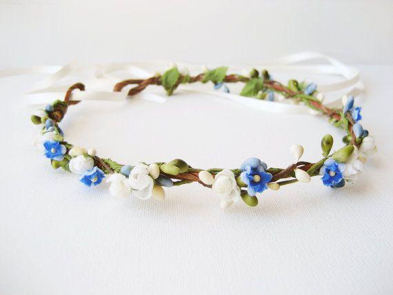 Bridesmaid : Flower Crown, Floral Crown, Bridal Headpiece, Blue Headband, Pastel Crown, Berry Wreath, Woodland Wedding Hair Accessories
