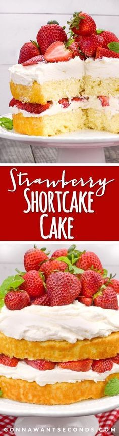 This Strawberry Shortcake Cake nestles succulent strawberries between layers of a delicate buttermilk-infused cake and perfectly whipped cream.