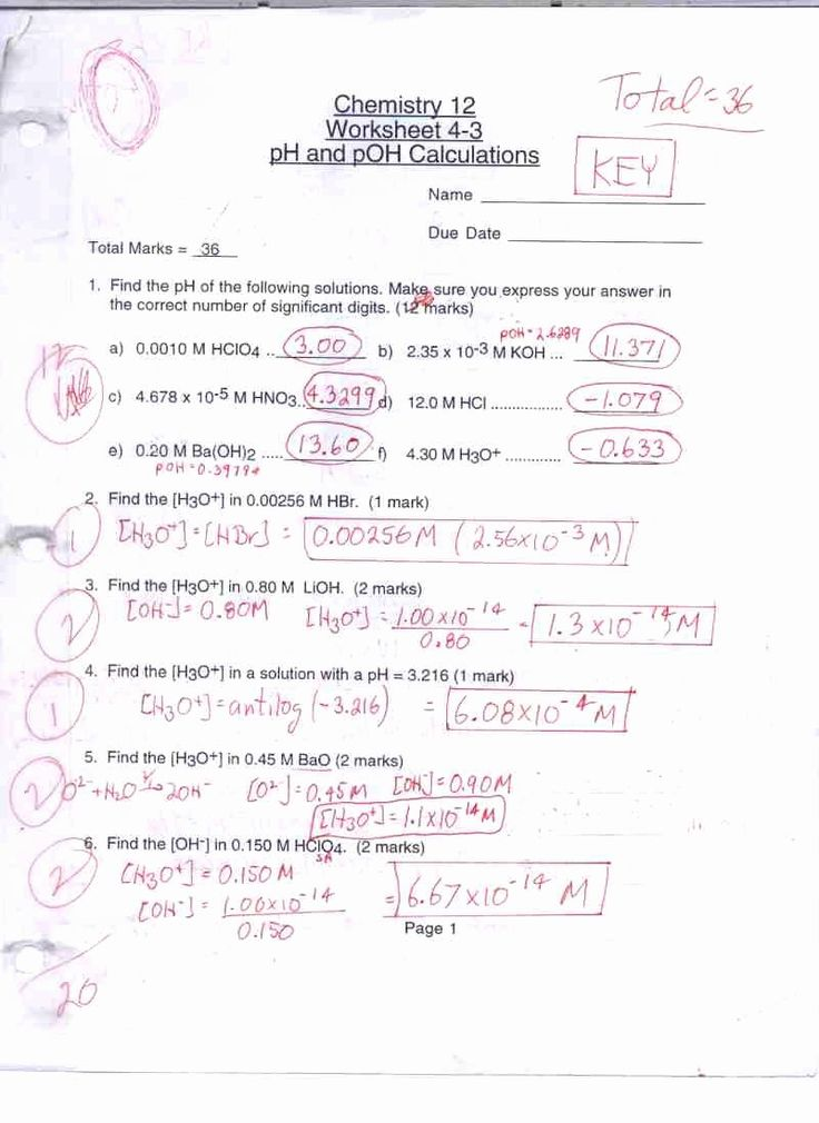 Ph and Poh Worksheet Answers New Chemistry 12 Mr C S Math ...