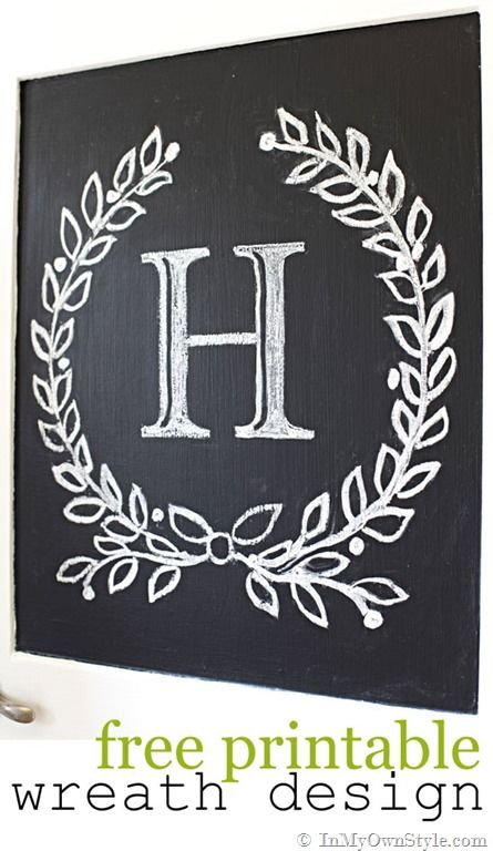 Free printable laurel wreath and chevron designs to transfer to furniture of chalkboards.  {InMyOwnStyle.com}    #freeprintable  #furnituremakeover  #chalkboards