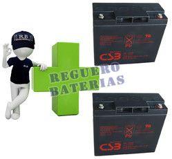 Kit de Baterias de sustitucion para silla de ruedas electricas en 12 voltios 20 amperios Agm Ciclicas CSB GP12200