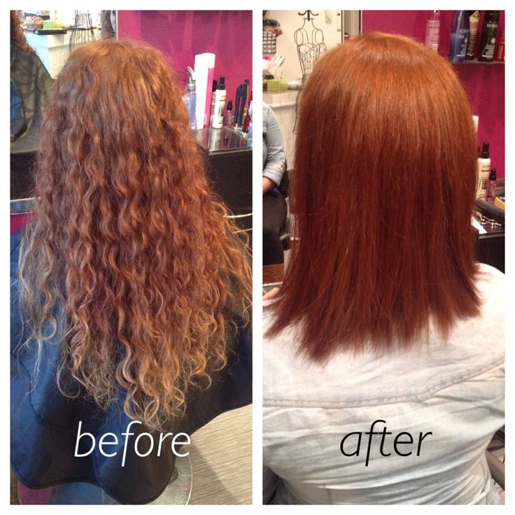 Cut and colour red, curly hair