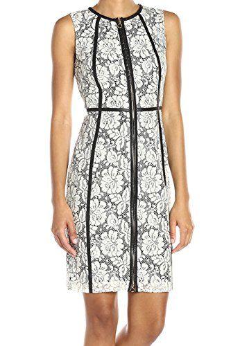 098f1d7143b Calvin Klein Women's Sleeveless Round Neck Zip Front Sheath Dress with Pu  Piping, Cream/Black, 6