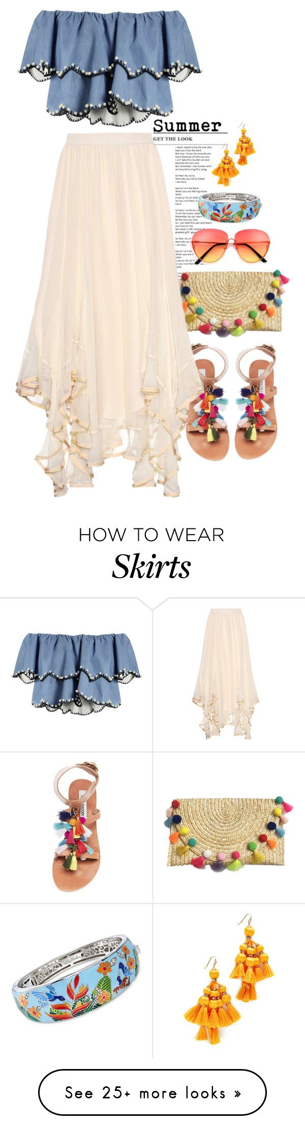 """Simple Summer"" by jenlynn59 on Polyvore featuring HUISHAN ZHANG, Steve Madden, Chloé, Kate Spade, Belle Etoile, croptop, summerstyle and simplebutneverplain"