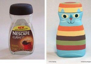 Поделки из пластиковых бутылок - Котик из кофейной банки