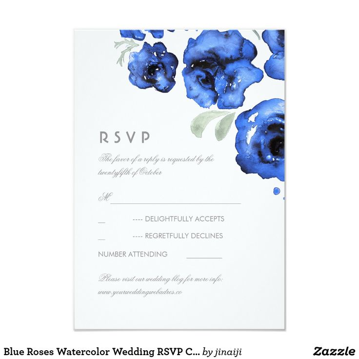 Blue Roses Watercolor Wedding RSVP Card romantic and elegant wedding reply cards with navy hand painted watercolor roses.