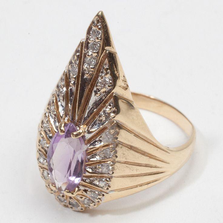 Erte rings   ... rings. : Estate Erte 14k Gold Diamond Amethyst Ring Fine Jewelry Art Deco